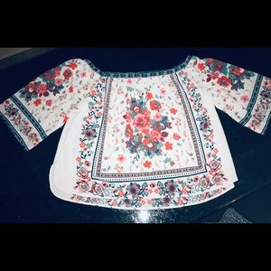 Off the shoulder floral print blouse